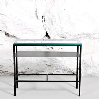 Sideboard med glasskiva, 65 cm