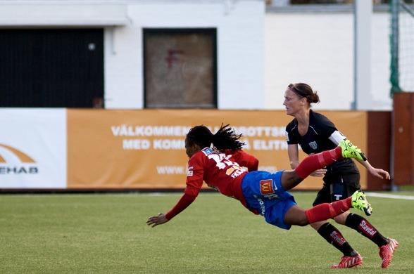 Lagkaptenen Merlene Sjöberg menar att KGFC borde ha avgjort mot Örebro redan i denförsta halvleken. Fotoi. PER MONTINI