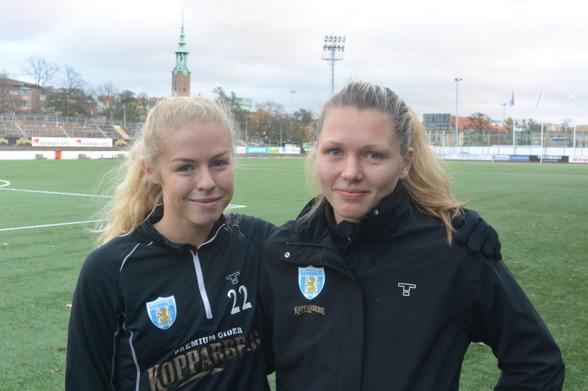 Maja Göthberg och Jennifer Falk har checkat in på Valhalla IP. Välkomna, tjejer! Foto. TORE LUND