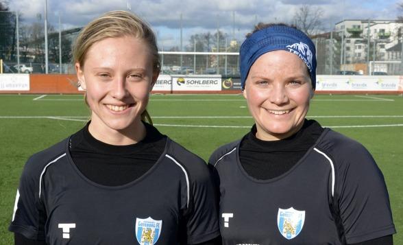 Två tvåmålsskyttar mot Kungsbacka på lördagen. Både Rebecla Blomqvist och Sara Lindén var nöjda med sitt dagsverke mot Kungsbacka. Foto: TORE LUND