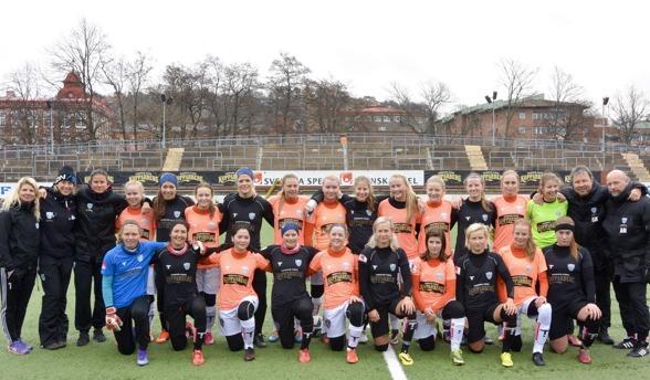I internmatchen på Valhalla IP slog KGFC:s a-lag F19-laget med 10-0. Men de yngre tjejerna stod upp bra och tog med sig mycket positivt från matchen. Foto: TORE LUND