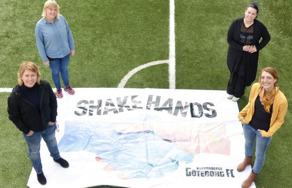 Ledarteamet som ska ta hand om Shake Hands öppna träningar – Anna Stoltze, Frida Persson, Morgaine Franksen och Isabel Expósito. Foto. TORE LUND