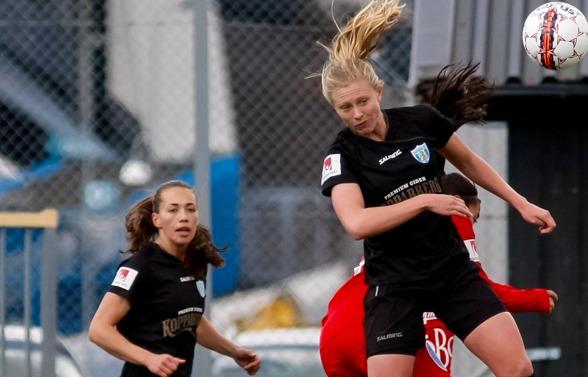 KGFC:s målskyttar mot Vittsjö, Elin Landström och Rebecka Blomqvist. Foto: PER MONTINI