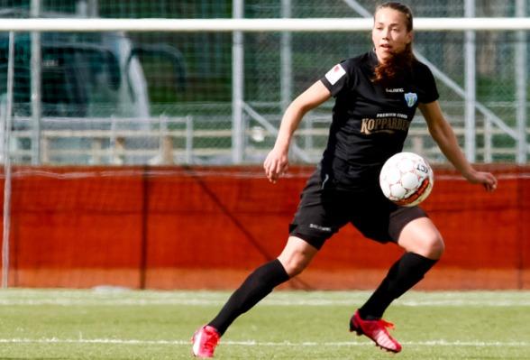 Elin Landström gjorde KGFC:s mål när laget så när fick med sig en poäng hem från Malmö IP på onsdagen. Foto: PERMONTINI