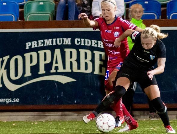 Nathalie Persson kom till KGFC från Rosengård inför den här säsongen. Hon har störts av höftproblem under året och hoppas kunna vara 100-procentig 2017. Foto. PER MONTINI