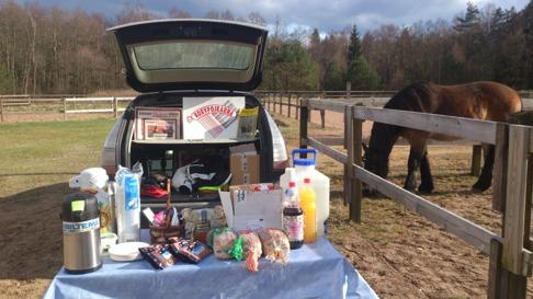 Glimt och Anna-Carin var  i Simlångsdalen i god tid och  jag skyndade mig ner till ridbanan. Här har jag dukat upp fikan och Glimt tar det lugnt i paddocken!