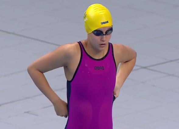 Hanna Rosvall var dagens enda individuella simmare på finalpasset. Slog persoinligt rekord på 50m fjärilsim