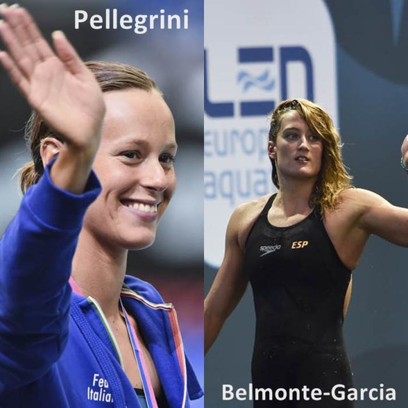 Två av giganterna under EM - Federicia Pellegrini Italien och Mirea Bemonte Garcia Spanien