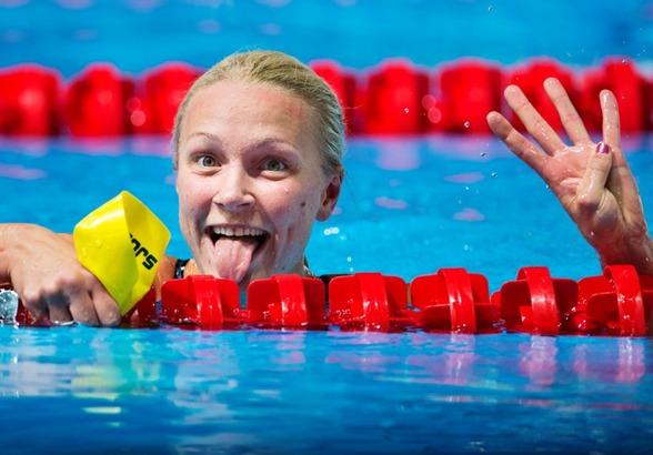 Sarah Sjöström gjorde en snygg avslutning på ett framgångsrikt VM - fyra på 50m fritt med svenskt juniorrekord.
