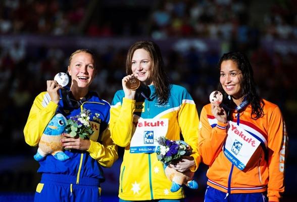 Prispallen på 100m fritt - Sjöström-Campbell och Kromowidjojo