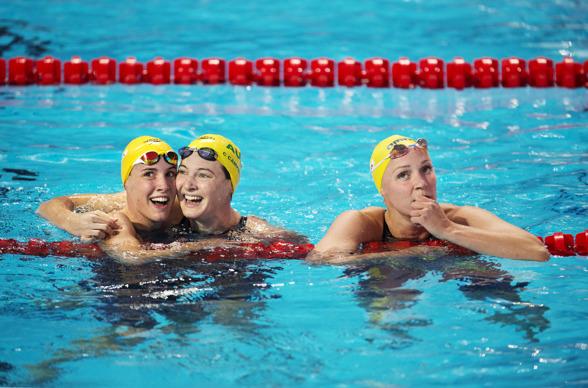 Inte uttalat samma glädje hos alla tre efter loppet på 100m fritt......................