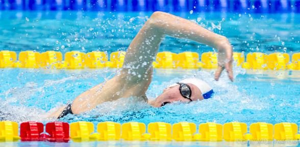JSM-segrare på 200m fritt - Louise Hansson Helsingborgs SImsällskap.