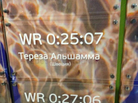 Så här kan det se ut i lobby av simstadion med världsrekordnoteringarna - här Therese ALshammar på 50m fjärilsim