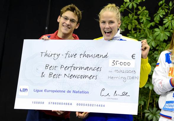 Michelle Coleman fick priset som främsta nybörjare på EM - på damsidan. Priset har en gång tidigare gått till en svensk - Lena Hallander 2002.