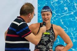 Sarah Sjöström efter loppet på 400m fritt