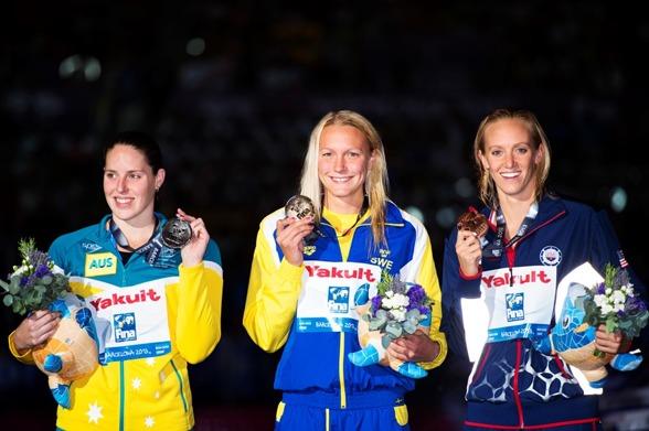 Coutts, Sjöström och Vollmer på prispallen efter 100m fjärilsim