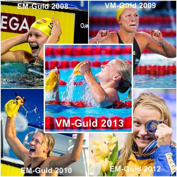 EM och VM- guld producerade av Sarah Sjöström sedan 2008. Glöm inte att hon bara är 20 år och har mycket framför sig i bassängerna. Vi gratulerar!!!