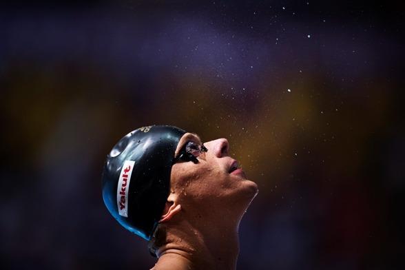Ceasar Cielo Filho efter semifinalen på 50m fjäril under gårdagen.