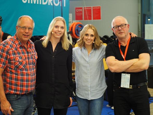 Eurosports kommentatorsgäng på tävlingarna - Thomas Jansson, Josefin Lillhage, Karin Frick och Bosse Hultén