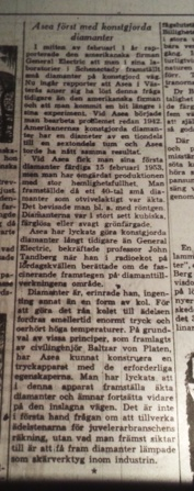 Newspaper in Sweden announcing that ASEA was the first to synthesis diamonds and that it had been done already on the 15th february 1953. DN 17/4-1955