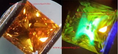 Med blotta ögat går sällan att avgöra om en diamant är av naturligt ursprung eller tillvekad på konstgjord väg. För att identifiera syntetiska diamanter så krävs först och främst kunskap men även tillgång till gemmologiska instrument som UV-lampor, polariserande filter, blå laser, spektroskop mm. För helt säker identifiering av alla diamanter är catodoluminescens t ex i form av ett Luminoscope ELM 3 eller belysning med högintensiv uv strålning någonstans mellan ca 210-180nm som med instrumentet Diamond View bästa metoderna.