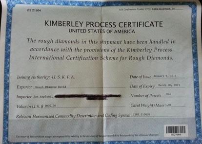 Kimberley certifikat utfärdat vid köp av en enstaka sten i USA vilken importerades till EU. Kimberleycertifikat har ett utfärdandedatum och ett slutdatum för sin giltighet, i detta fall två månader.