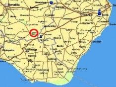 Bollerup på Österlen - se den röda ringen på kartan ovanför