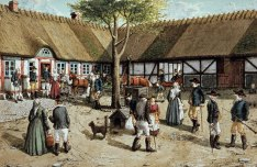 ALLMOGELIV ÖSTERLEN 1800-TALET (målning av Spjutorpskonstnären Frans Lindberg)