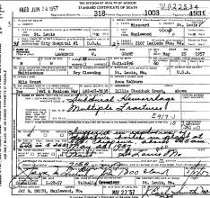Lawrence W Grant - dödsattest 1957