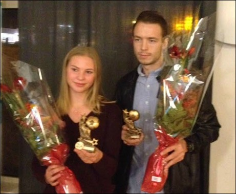Medelpads Fotbollförbund har utsett Ellen Löfqvist och Jón Gudni Fjóluson till Årets Spelare 2014. Foto: Medelpads Fotbollförbunds hemsida.