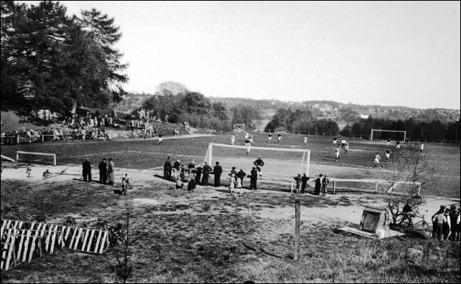 Sköns IF tog försommaren 1936 emot Ljunga IF hemma på Flodbergs IP. Foto: Sköns Norra Intresseförening.