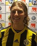 """En glad """"Jonte"""" Åhlin sköt med sina två mål upp Kuben i serietopp."""