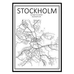 Tavla Poster Stockholm Karta 50x70 -