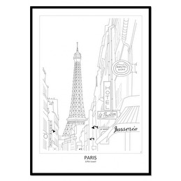 Tavla Poster Street View Paris 50x70 -