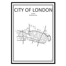 Tavla Poster London Karta 50x70 -