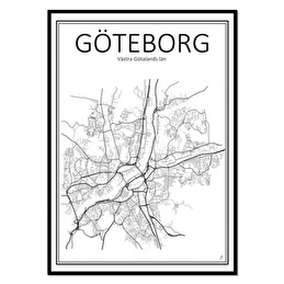 Tavla Poster Göteborg Karta 50x70 -
