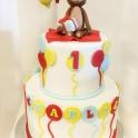 Barntårta Apa, ballonger, två vån