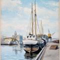 Akvarell - Norrköpings hamn 1954