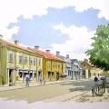 Skolgatan i Skara, 1969, med kyrkan i ryggen. Tack Lena, för dit tips som löste denna gåta.