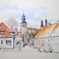 Södra kyrkogatan från torget och Sankta Katarina klosterruin (1962). Ofärdig teckning från ett ritblock.