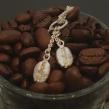 Kaffeböna - 2 kaffebönor på ring + 90 cm kedja