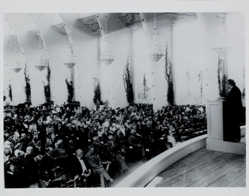 Photograph by Ander Wilhelm Karnell 1923 Einstein delivering Nobel Prize lecture at  Gothenburg, Sweden, during the meeting of the Scandinavian Society of Natural Science.