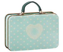 Maileg Metal Suitcase Cream Mint Dots