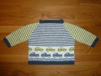 Babytröja med bilar - Stickpaket - Babytröja med bilar - Stickpaket