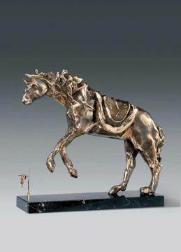 """Horse Saddled with Time"" Brons, Upplaga 8 ex. 141 cm hög."