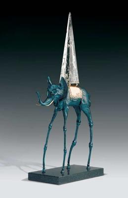 """""""Space Elephant"""" Brons och plexiglas, Upplaga 350 ex. höjd 94 cm."""