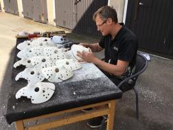 Cutting and sanding Jason hockey masks
