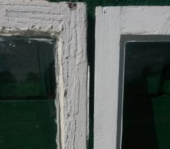 Renovering av fönster, före - efter, nytt kitt och linoljefärg.