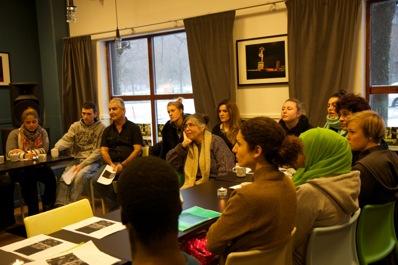 1:a träffen av 5 med studerande vid Angereds-, Mångkulturella- samt Kvinnofolkhögskolan fredagen den 17 jan.