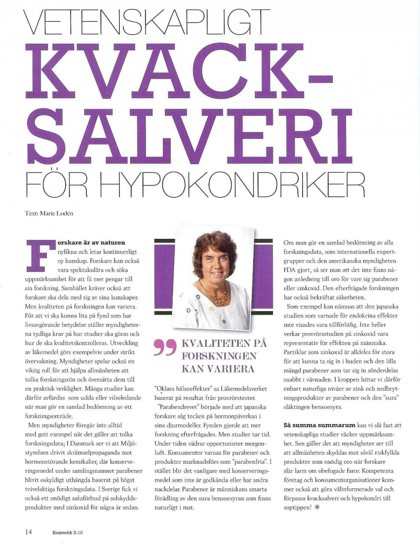 Från tidningen KOSMETIK, Nummer 2, 2010